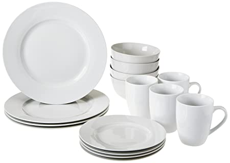 AmazonBasics Dinnerware Set Service for 4 16-Piece  sc 1 st  Amazon UK & AmazonBasics Dinnerware Set Service for 4 16-Piece: Amazon.co.uk ...