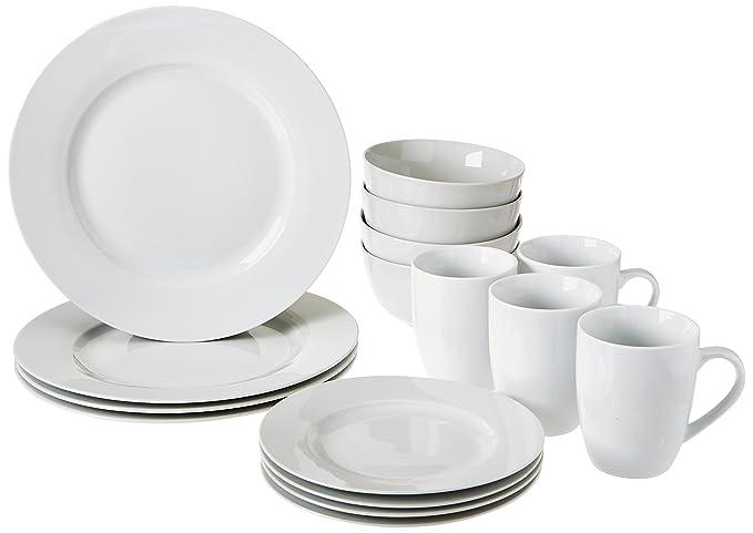 Review AmazonBasics 16-Piece Dinnerware Set,