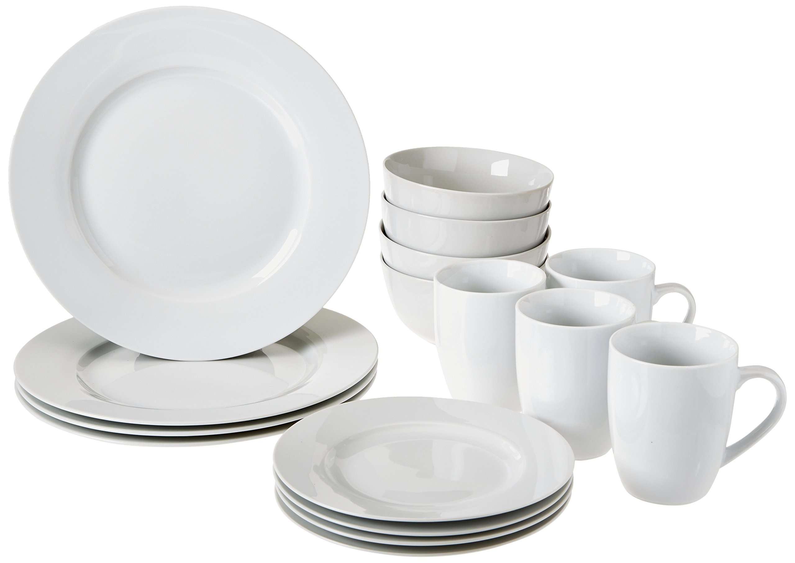 Amazonbasics 16 Piece Kitchen Dinnerware Set Plates
