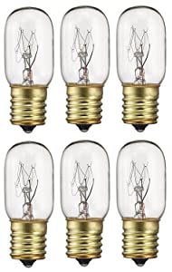 """6 Pack 40 Watts Microwave Replacement Bulb for Most Ge and Whirlpool Oven, 40T8 E17 Base Appliance Light Bulb MOL 2.5 """""""