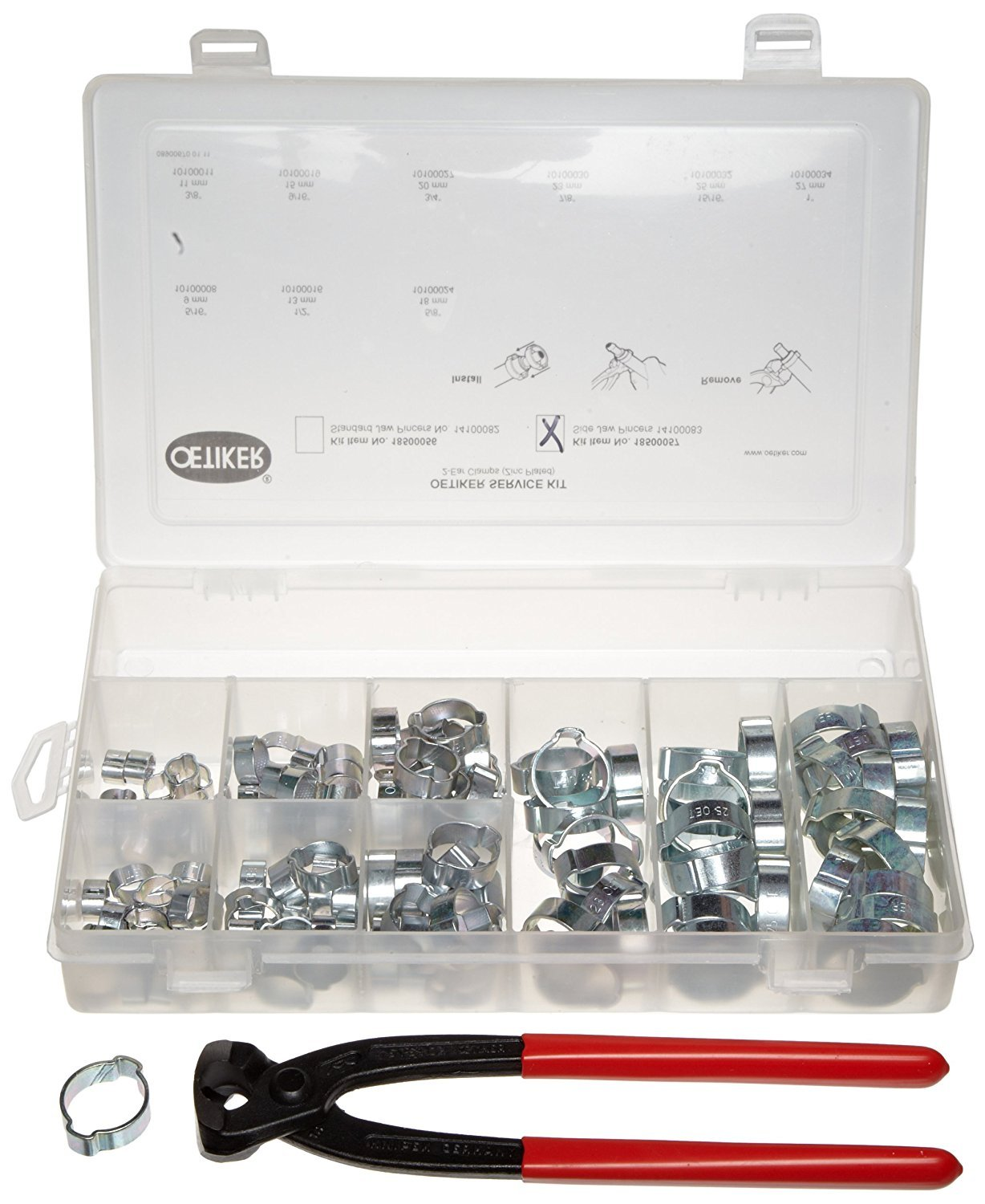 Oetiker 18500057 Service Kit (2-Ear Clamps, zinc plated with side jaw pincers) by Oetiker (Image #1)