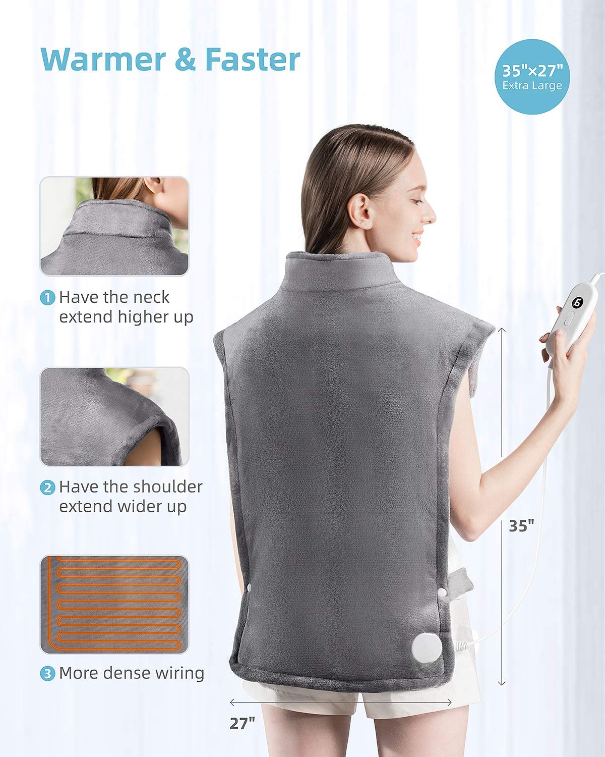 """iTeknic Heating Pad for Back Pain Relief, [35""""x27""""] Extra Large Heating Pad for Neck and Shoulders with Auto Shut Off, 6 Temperature Settings, Fast Heating - Electric Heat Pad for Cramps Gray: Health & Personal Care"""