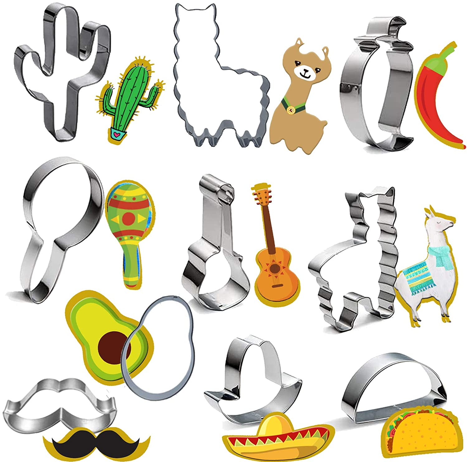 10pcs Mexican Fiesta Cookie Cutter Set - Stainless Steel Cinco De Mayo Mexican Festival Cookie Molds Alpaca Cactus Hat Guitar For Baking Decorative Food DIY Supplies