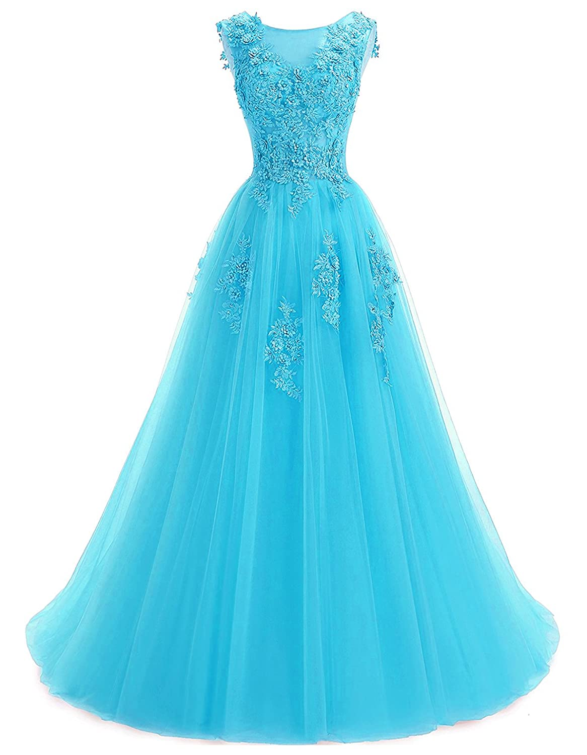 bluee Annxpink Women's Long Sheer Scoop Neck Beaded Pearls Flowers Tulle ALine Prom Gown Formal Evening Dress