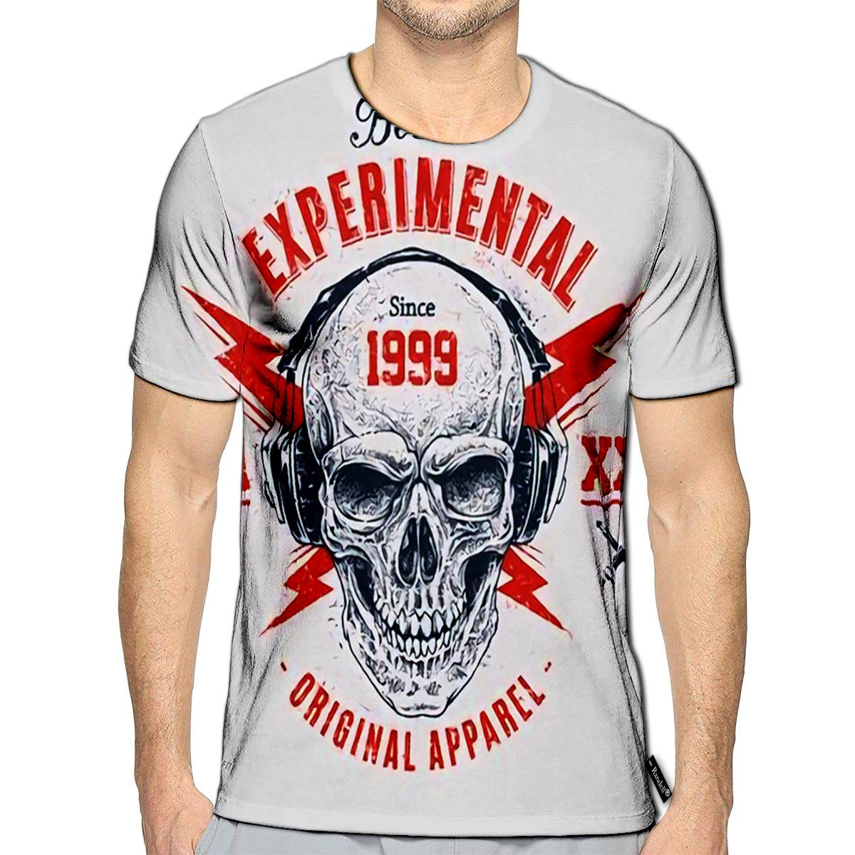 Randell 3D Printed T-Shirts Dotwork Style Skull with Headphones and Lightnings Grunge Pr