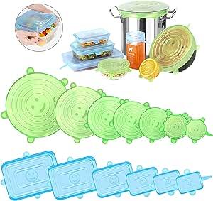 Modohe Tapas de Silicona Elásticas Reutilizables Ecológicas, 13 Paquetes de Cubiertas de Silicona para Alimentos, Tapas Expansibles Rectangulares & Redondas para uso en Lavavajilla, Microonda y Nevera