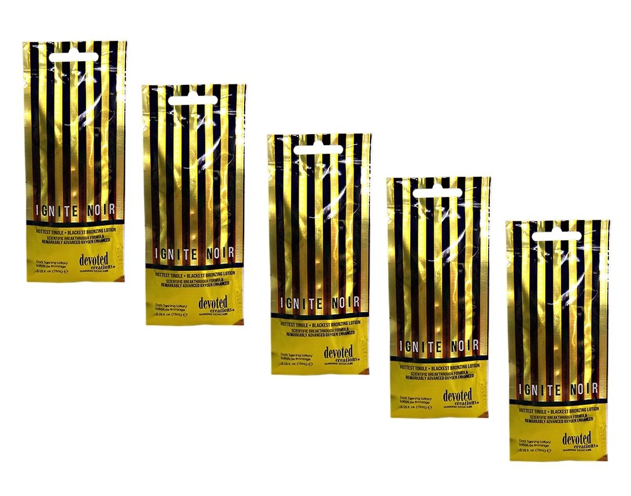 5 Packets of Ignite Noir Hot Tingle Tanning Lotion by Devoted Creations