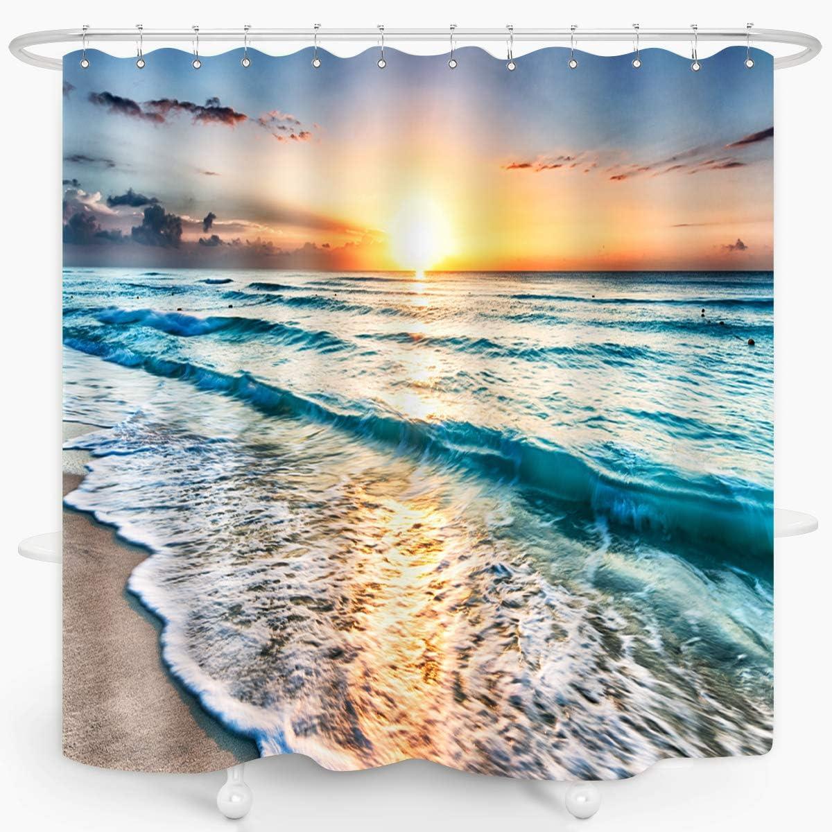 Hawaii Shower Curtain Pacific Sunrise Lanikai Print for Bathroom