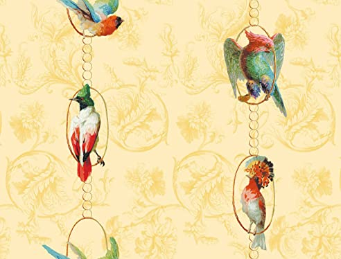 Gelbe, Sonnige Vintage Paradies Vogel Tapete Birds On A String Mit  Papageien Auf Barock Muster