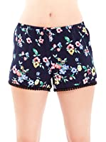 Navy Blue Ladies Floral Print Crocheted Trimmed Elastic Waist Shorts