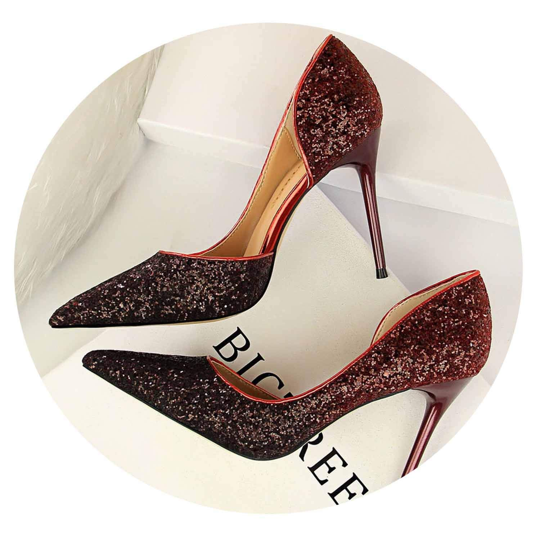 Wine Red 9cm Glitter High Heels Sequins Scarpins Pumps Silver gold Escarpins Scarpins Talons shoes