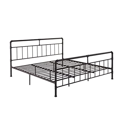 Amazon.com: Sally King-Size Iron Bed Frame, Minimal, Industrial ...