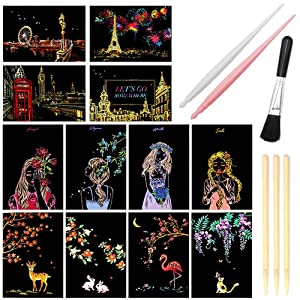 "Scratch Art Paper, Rainbow Night View Scratchboard Pads for Adults and Kids, Mini Envelope Postcard Art & Crafts Set: 12 Sheets Scratch Cards & Scratch Drawing Pen, Clean Brush 7.9""x5.5"" (City Living)"