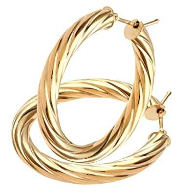 Citerna 9 ct Yellow Gold Oval Twisted Hoop Earrings on 0.4 cm Tube uHYULcY