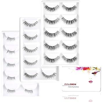 6d0e8f55e15 FFLEMON 15 Pairs Premium False Eyelashes, 3 Styles Multipack Handmade  Nature Fake Eyelashes, Demi
