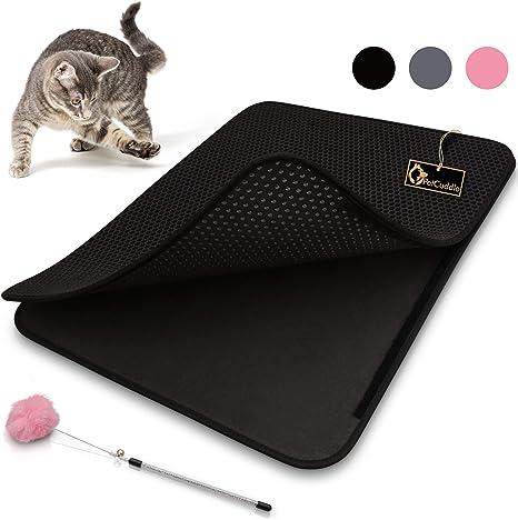 PetCuddle Alfombrilla de arena para gatos, color gris, 75 x 58 cm, higiénica, para la arena del gato, incluye juguete para gatos