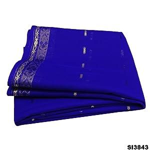 Vintage Indian Sari Blue Hand Woven Bollywood Dress DIY Fabric Art Decor Drape Silk Blend Saree 5YD