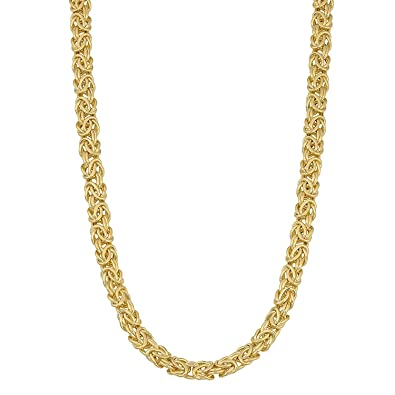 MCS Jewelry 14 Karat Yellow Gold Byzantine Necklace 6mm (Length:18