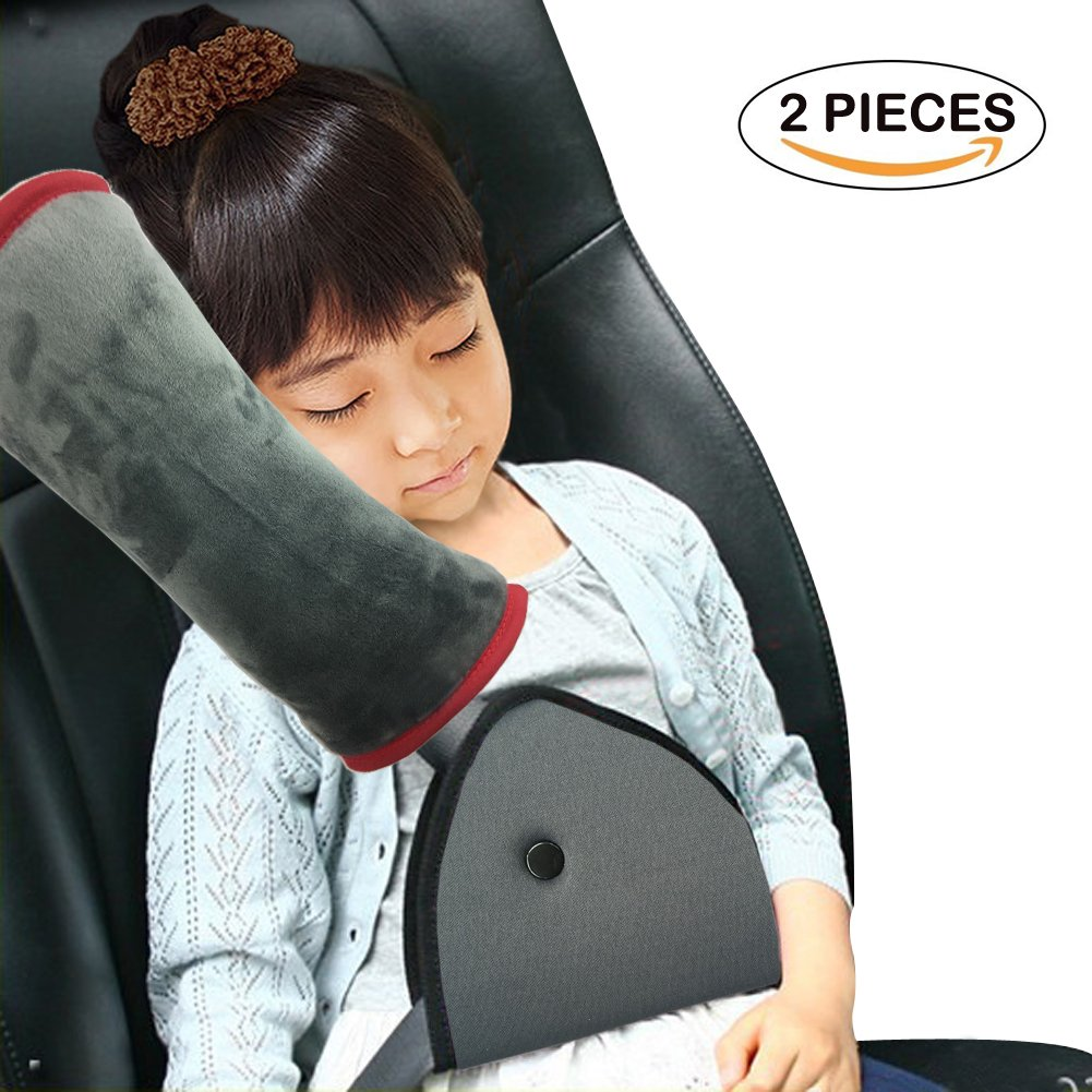 Car Seat Belt Pillow and Adjuster Kit for Kids, WOMUMON Super-soft Headrest Neck Support Cushion and Safety Belt Protection Pad, Thicker and Softer by WOMUMON