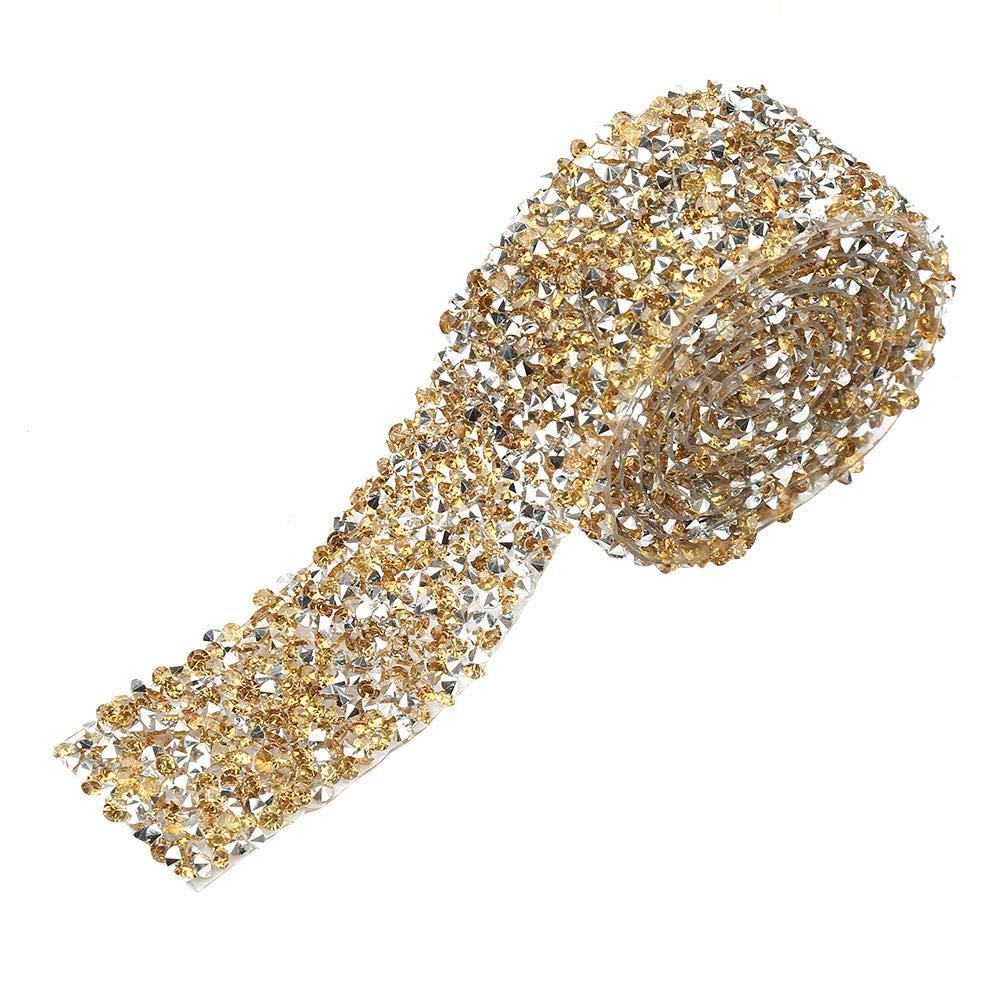 45 m Crystal Gold Bottom Haarspange Party Dekoration G/ürtelapplikation Diamant-Maschengewebe Band mit Strasssteinen Hochzeit 30 mm ca Rolle f/ür Abschlussballkleider
