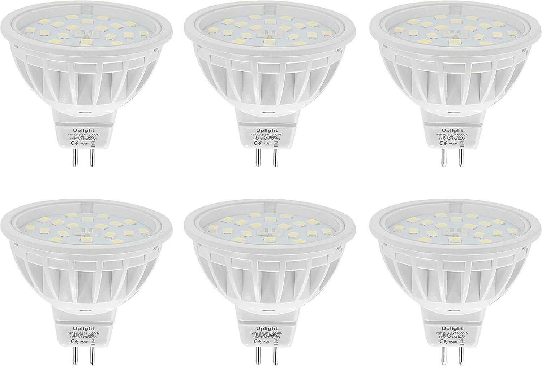 5.5W MR16 LED Bombillas Gu5.3 Destacar,Blanco Frío 6000K,Equivalente 60W Luz Halógena,Ra85 600LM DC12V,6 Piezas.