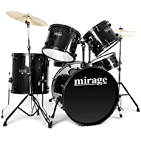 Mirage 5-Piece Beginners Drum Kit, Full Size with Stool and Sticks - Black