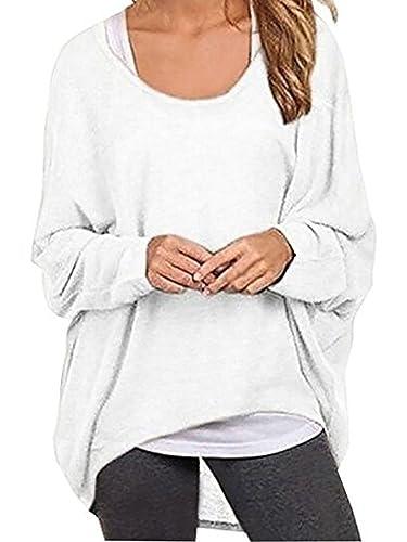 Elevesee Damen Lose Asymmetrisch Jumper Sweatshirt Pullover Bluse Oberteile Oversize Tops (38, Weiß)