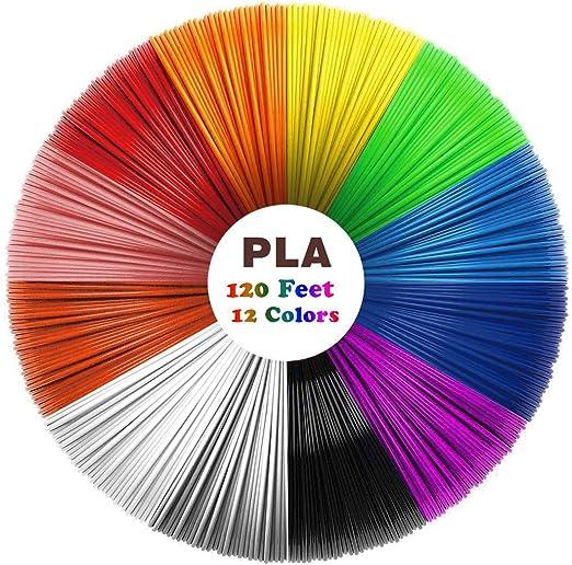 Filamento de 3D Pluma PLA, Uzone 12 Colores 1.75 mm 10 Pies por ...