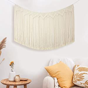 "IHOMEGAR Macrame Wall Hanging Tapestry, Large Curtain Fringe Garland Banner, Boho Chic Bohemian Woven Wall Decor Home Holiday Decoration for Wedding Bedroom Living Room Gallery Nursery, 30"" L x 43"" W"