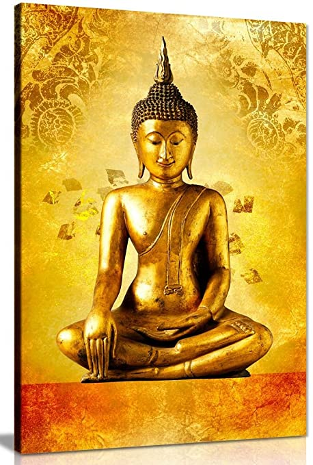 Gold Buddha Statue God Zen Canvas Wall Art Picture Print (30x20in ...