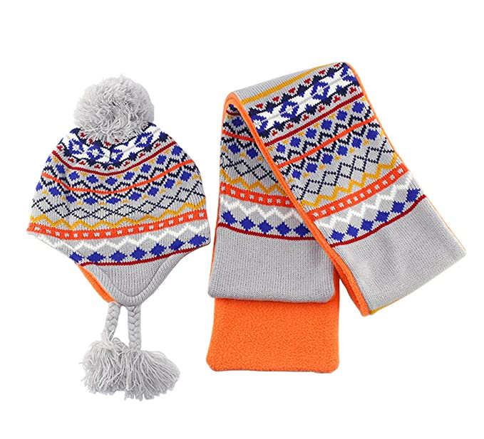 dda64dd9421 Ding-dong Baby Kid Girl Winter Knitted Striped Fleece Hat+Scarf 2 Pieces Set