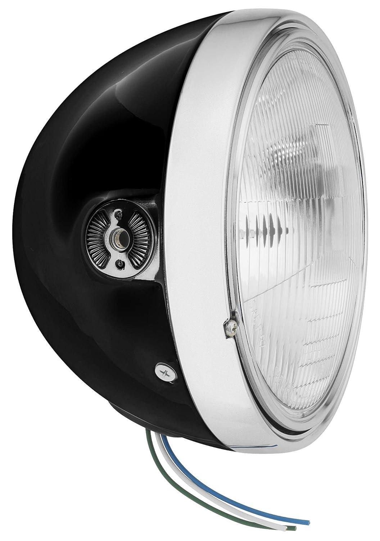 BikeMaster 7/&Prime Side Mount Gloss Black Headlight 6J8-H//B-N1
