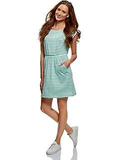 6d416b8eaacbcb oodji Ultra Damen Baumwoll-Kleid mit Gummizug an der Taille: Amazon ...