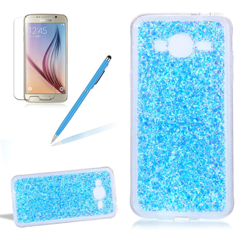 Glitter Cover for Samsung Galaxy J3 (2015)/J3 (2016), Girlyard Crystal Luxury Bling Shinning Design Soft TPU Ultra-thin Flexible Rubber Anti-slip Scratch Resistant Sleeve for Samsung Galaxy J3 (2015)/J3 (2016) -Blue