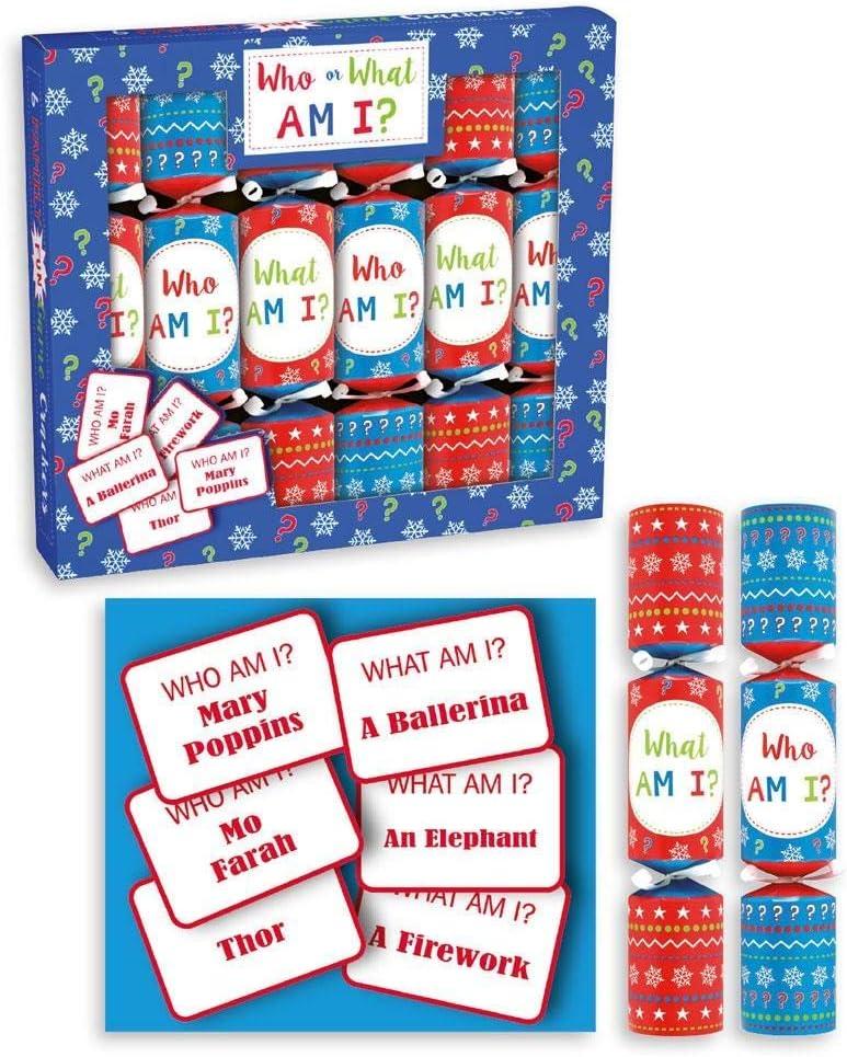 Anker Paquet de 6 Mini What Am I Jeu No/ël Crackers Famille Enfants No/ël Crackers