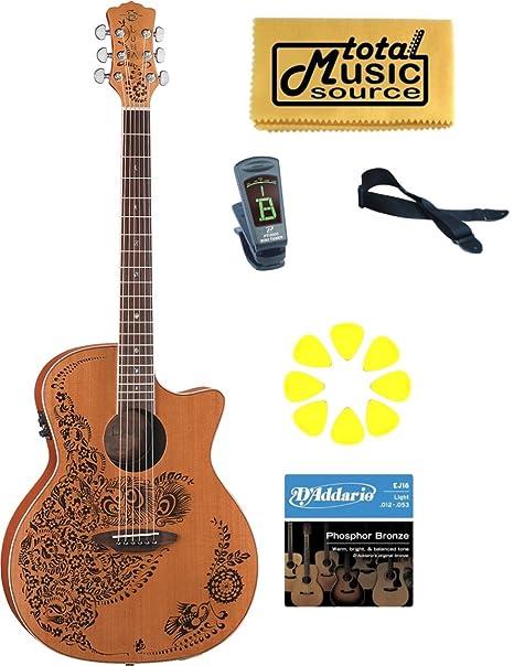 Luna Henna Oasis guitarra eléctrica acústica de cedro, tapa de cedro macizo), gallina