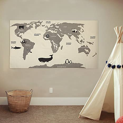 Amazon jeteven canvas world map kids rug child play mat baby jeteven canvas world map kids rug child play mat baby nursery crawling carpet hanging tapestry home gumiabroncs Choice Image