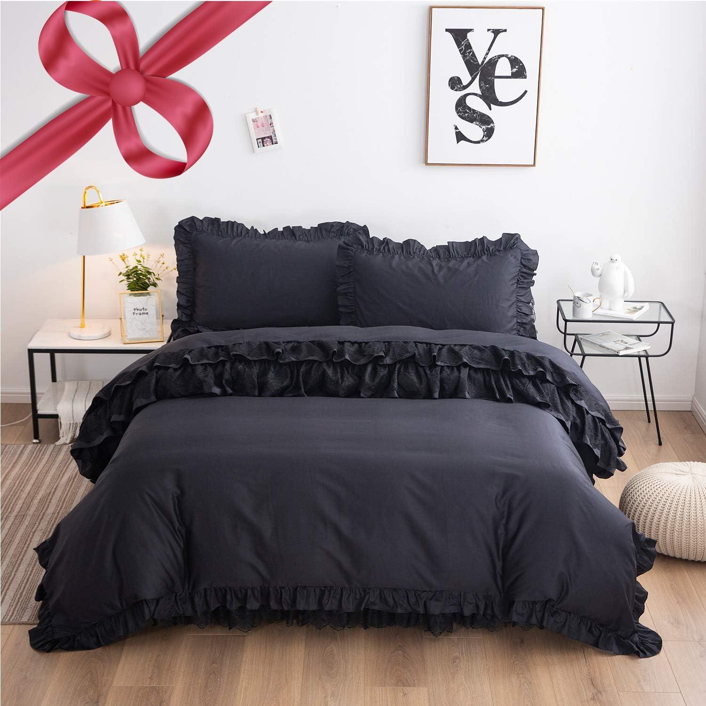 FADFAY Black Ruffle Bedding Set Queen Size 4 Piece Premium 100% Cotton Luxury Pure Black Lace Zipper Duvet Cover Set & Bed Skirt & 2 Pillowshams
