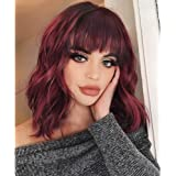 AISI HAIR Synthetic Curly Bob Wig with Bangs Short Bob Wavy Hair Wig Wine Red Color Shoulder Length Wigs for Women Bob…