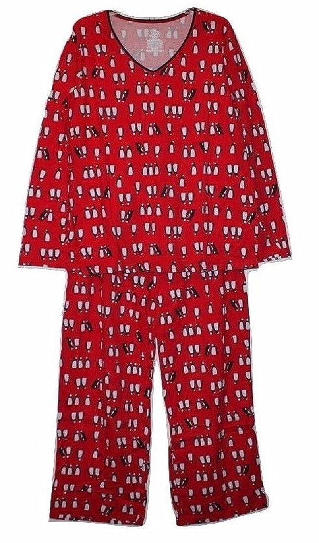 7b405fe8 Secret Treasures Women's Red 100% Cotton Knit Pajamas w/Penguin ...
