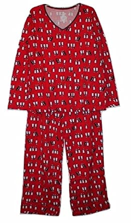 310b9ded730 Secret Treasures Women s Red 100% Cotton Knit Pajamas w Penguin Print (XL 16