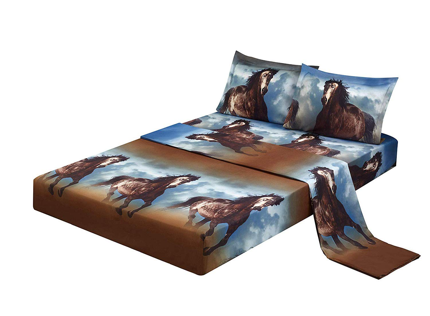4 Piece Set Superior 3d Print Stylish and Vivid Pattern Deep Pocket Bed Sheet Set,Running Horse,Blue Sky and White Clouds (Queen, Running Horse)