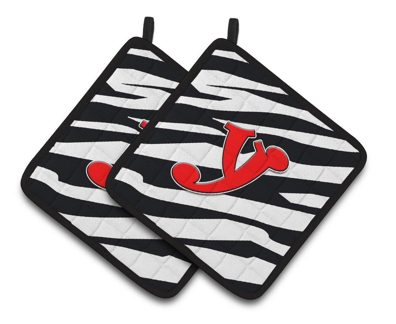 Multicolor Carolines Treasures Monogram Initial Y Zebra Red Pair of Pot Holders CJ1024-YPTHD 7.5HX7.5W