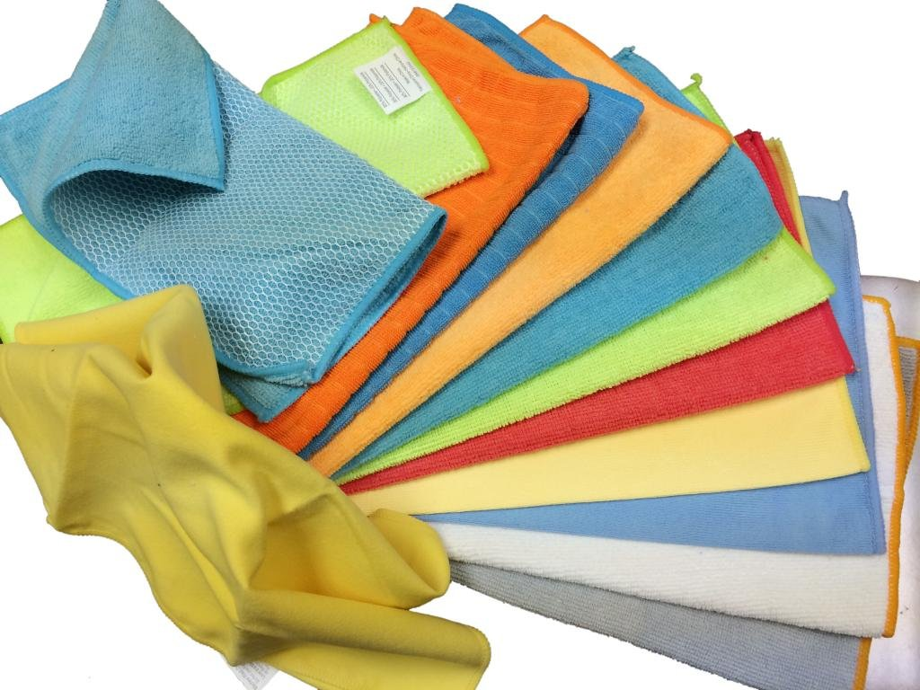 192 Pack (16 Dozen) Atlas Microfiber Cleaning Cloth - B Grade, Mixed and Random Colors - 10''x10'' to 12''x13''