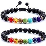 HCHIDS Men Women 8mm Lava Rock Chakra Beads Bracelet Braided Rope Stone Agate Bracelet Bangle