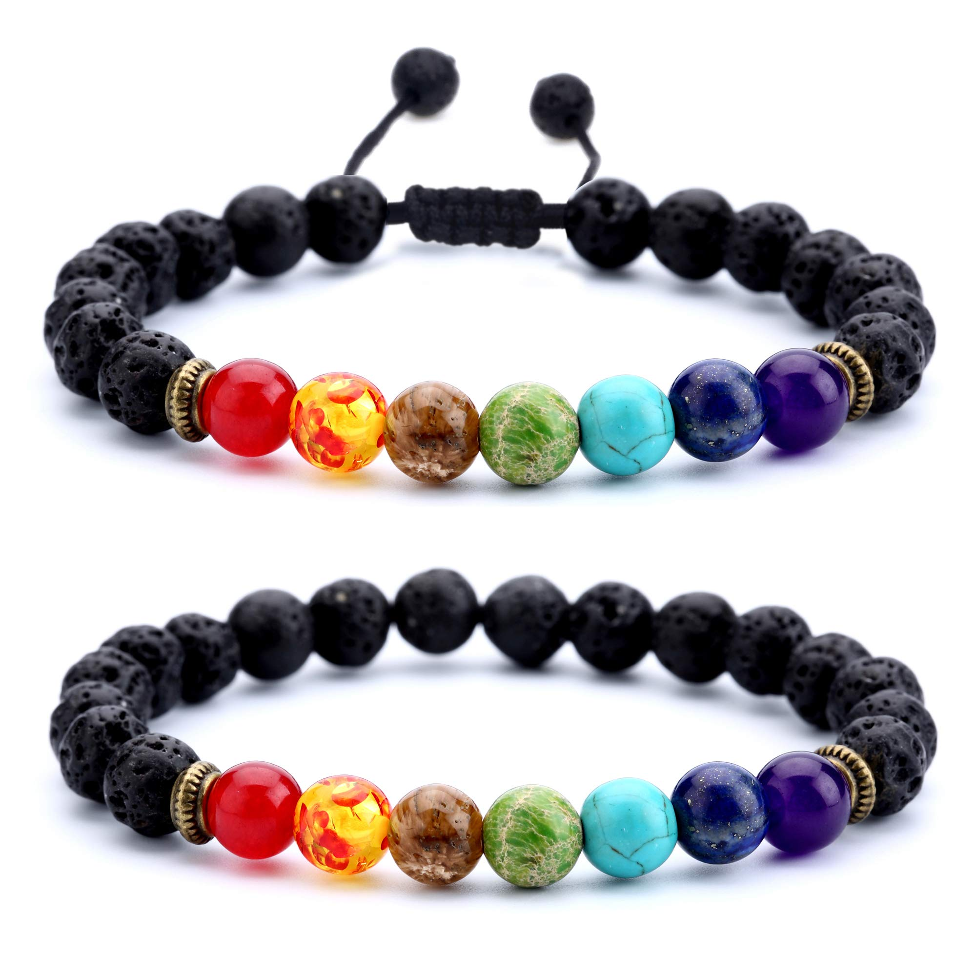 Hamoery Men Women 8mm Lava Rock Chakra Beads Bracelet Set Braided Rope Natural Stone Yoga Bracelet Bangle (Set 1)