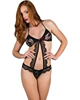 69ae605a34f Sexy Lingerie Scallop Edge Sheer Lace Halter Top Bodysuit Teddy G-String  Thong Teddy Bedroom