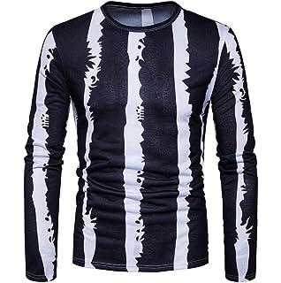 SanKidv-Langarmshirt Hemd Herren Casual Print O-Ausschnitt Pullover Langarm  T-Shirt Top f08c0715ce