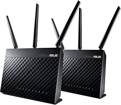 ASUS RT-AC68U AiMesh 2 pack AC1900 Whole Home Dual-band AiMesh Mesh Wifi System, AiProtection Lifetime Security by Trend Micro, Adaptive QoS, Parental Control