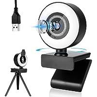(2021 Nuevo chip) Cámara web con anillo de luz LED para Video ConferenciaUSB Ajustable con Micrófono Incoprado a…